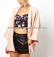 CHEFON Draped Open Front Crop Sleeve Relaxed Kimono Blouse Women CAT0118