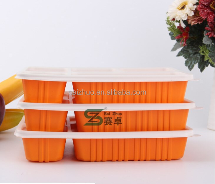 1100ml capacity 5 compartment microwave safe disposable plastic bento box for reastaurant