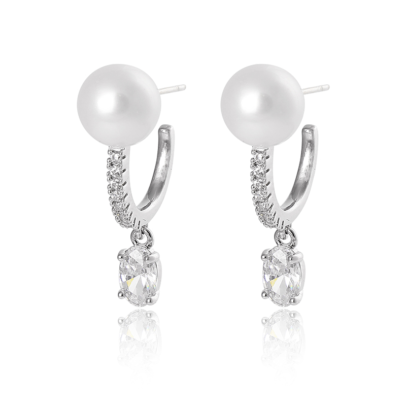 Famous Design Women's Fashion Silver Plated Hook Earrings Cream Pearl and Zircon J Hoop Earrings
