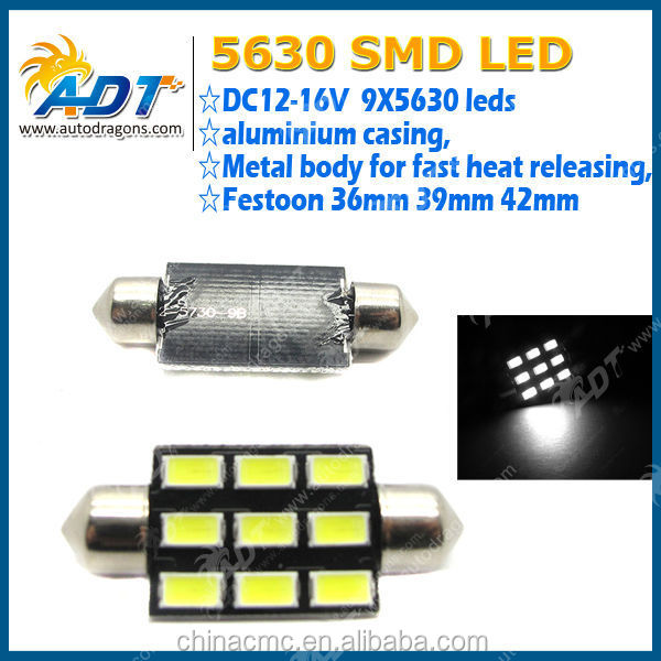 "Car Dome 5630 SMD 9 LED Bulb Light Interior Festoon 42MM 1.72"" Pure White"