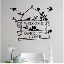 "Hot Sale High Quality Flora Bird Wall Sticker "" Welcome Sweet Home"" Decal Removable Living Room Home Decor Mural Decal"