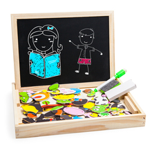Animal wooden magnetic puzzle games with double sided board