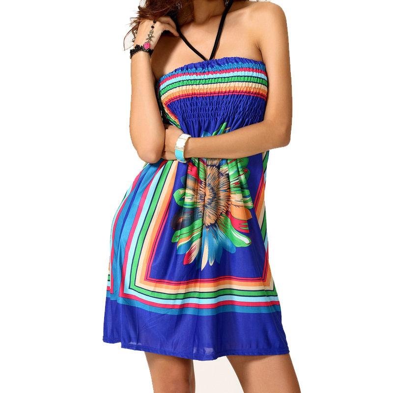 Ethnic Summer Bohemian Dress Y Women 39 S Multicolor Print Polyester Strapless Vestidos 2017 Short Beach Dresses P030 In Price On M Alibaba