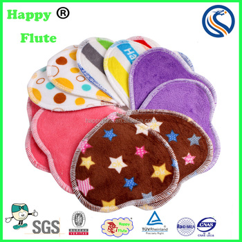 Happyflute bamboo heart shape mama cloth pads reusable breast feeding nursing cover