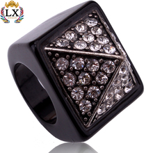 RLX-00163 latest fashion man diamond ring wholesale high quality classy black metal finger ring for men