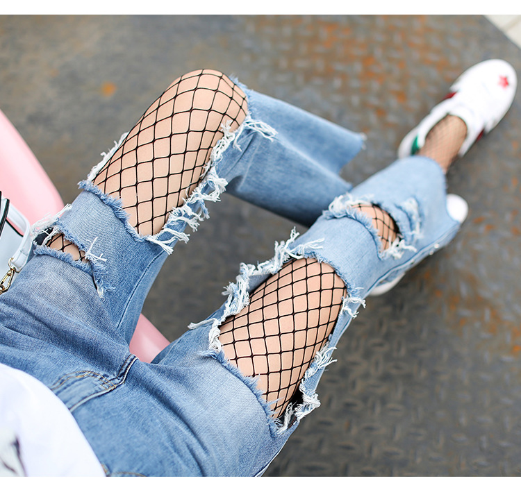 Women faded ripped jeans Patch-worked Mesh city of others plus size 26-31