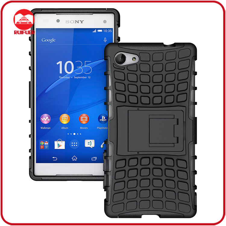 Dual Layer Tough Rugged Kickstand Hybrid Heavy Duty Armor Shockproof Cover Case for Sony Xperia Z5 Compact Mini