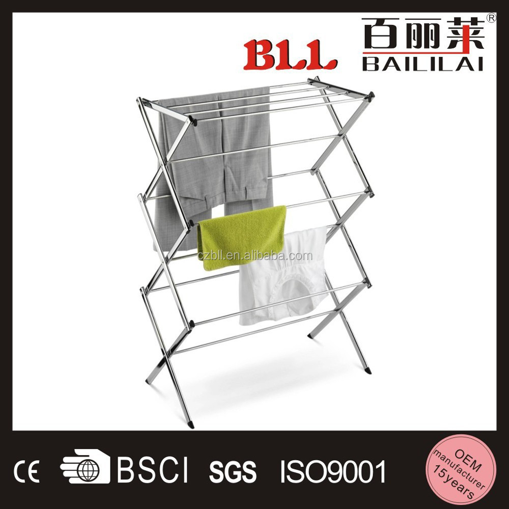 silver color multipurpose 3 tiers foldable steel heated balcony clothes drying rack