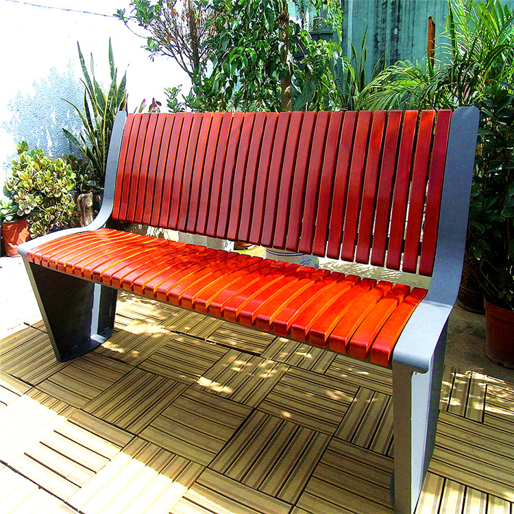 Solid Wooden garden bench park chair street  Slats with Cast Iron Metal frame legs for indonesian wood furniture