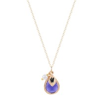 Purple Stone with Simulated Pearl and Leaf Initial Necklace for women necklaces pendants
