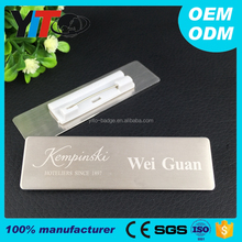factory custom name tag metal badge holder 70*20mm stainless steel plate with pin personalized employee name badge