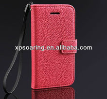 Pink lychee leather case for iphone 5C, for iphone 5C credit card case