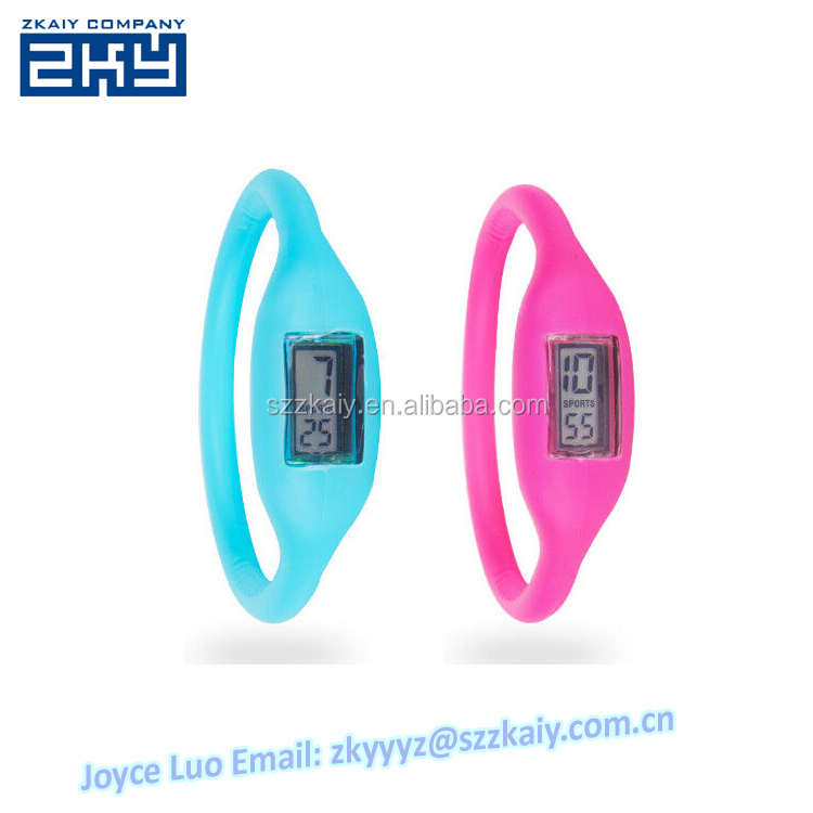 ZKY-0027 Clear LCD Display Promotional Jelly Silicone Bracelet Wristband Watch 1 ATM waterproof Silicone ion Watch Custom Logo