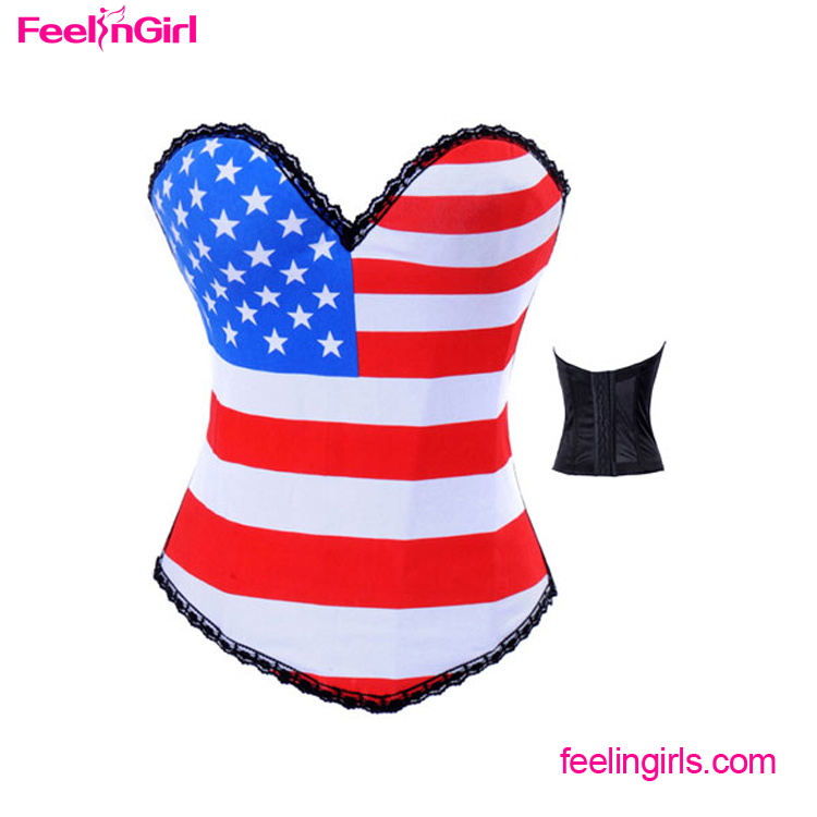 Hot Selling USA Flag Printed Overbust Sexy Girls Types Corsets