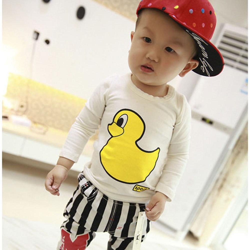 UNIKIDS 2016 Children Clothing Cotton Long Sleeve Tops Cartoon Duck <strong>O</strong>-Neck Tees Casual T-Shirt Kid Clothes For Baby Boy Autumn