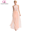 Grace Karin 2016 New Backless Halter Chiffon Long Pink Evening Party Dress Long Evening Gowns GK000038-1