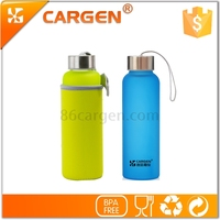 Frosted colorful neoprene sleeve for glass water bottle