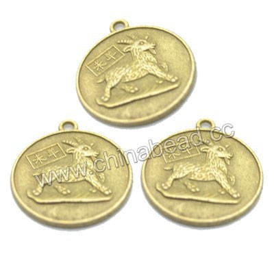 Wholesale coin charms, Chinese zodiac fengshui coin charm for sale