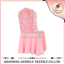 Wholesale pink leaves taffeta spandex chair cover for wedding