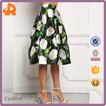 Woman's Fashion Black Taffeta Floral A-Line Midi Skirt
