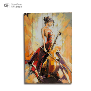 Metallic beautiful girl oil painting solid wood musical instrument painting 3d beauty painting with cello