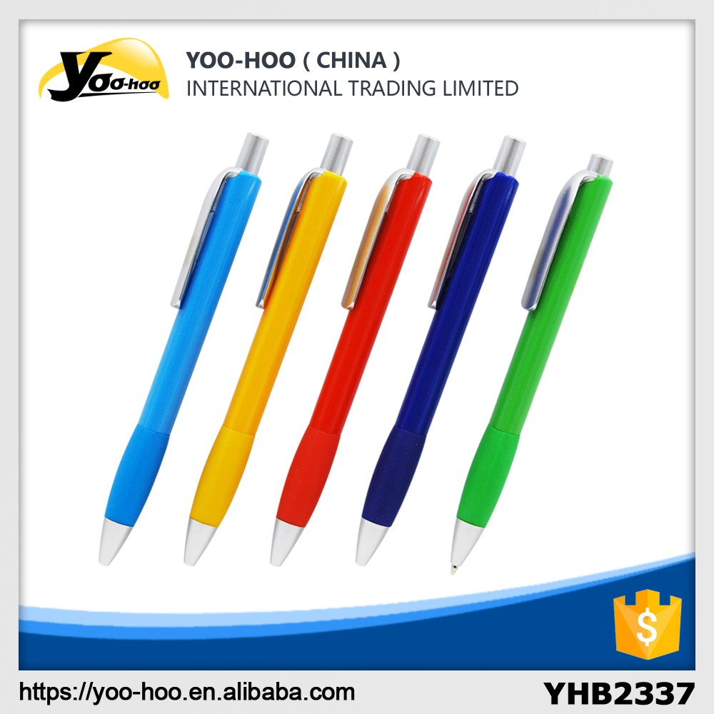 Plastic ball pen with color barrel and rubber grip