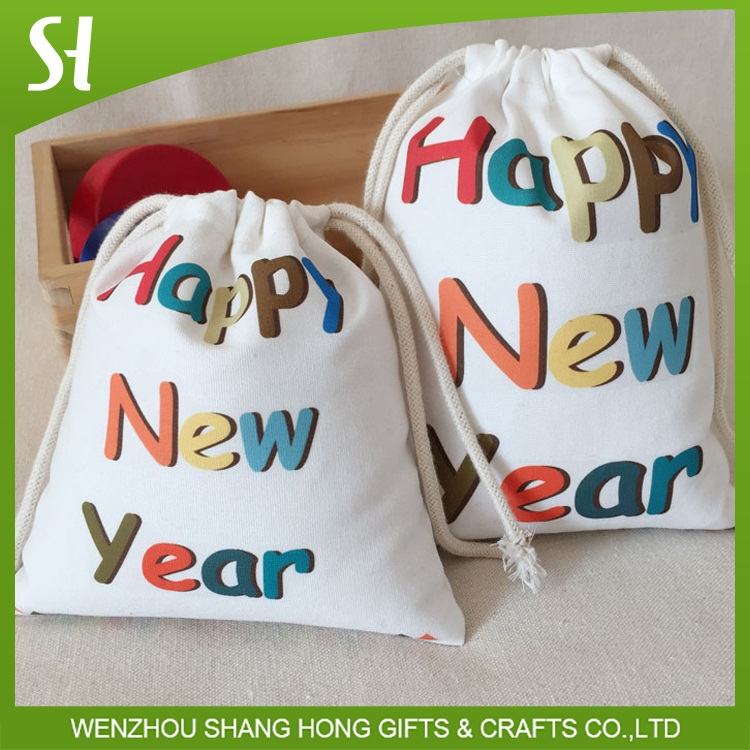 Colorful custom size new year Xmas CHRISTMAS HOLIDAY party gift Goody cotton drawstring BAGS