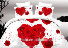 China wholesale red rose 3d reactive printed wedding duvet cover set