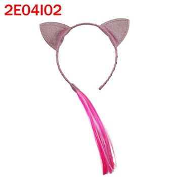 2018 New design cartoon cute cat ears hair bands with color wig for girl kids fashion hairband accessories
