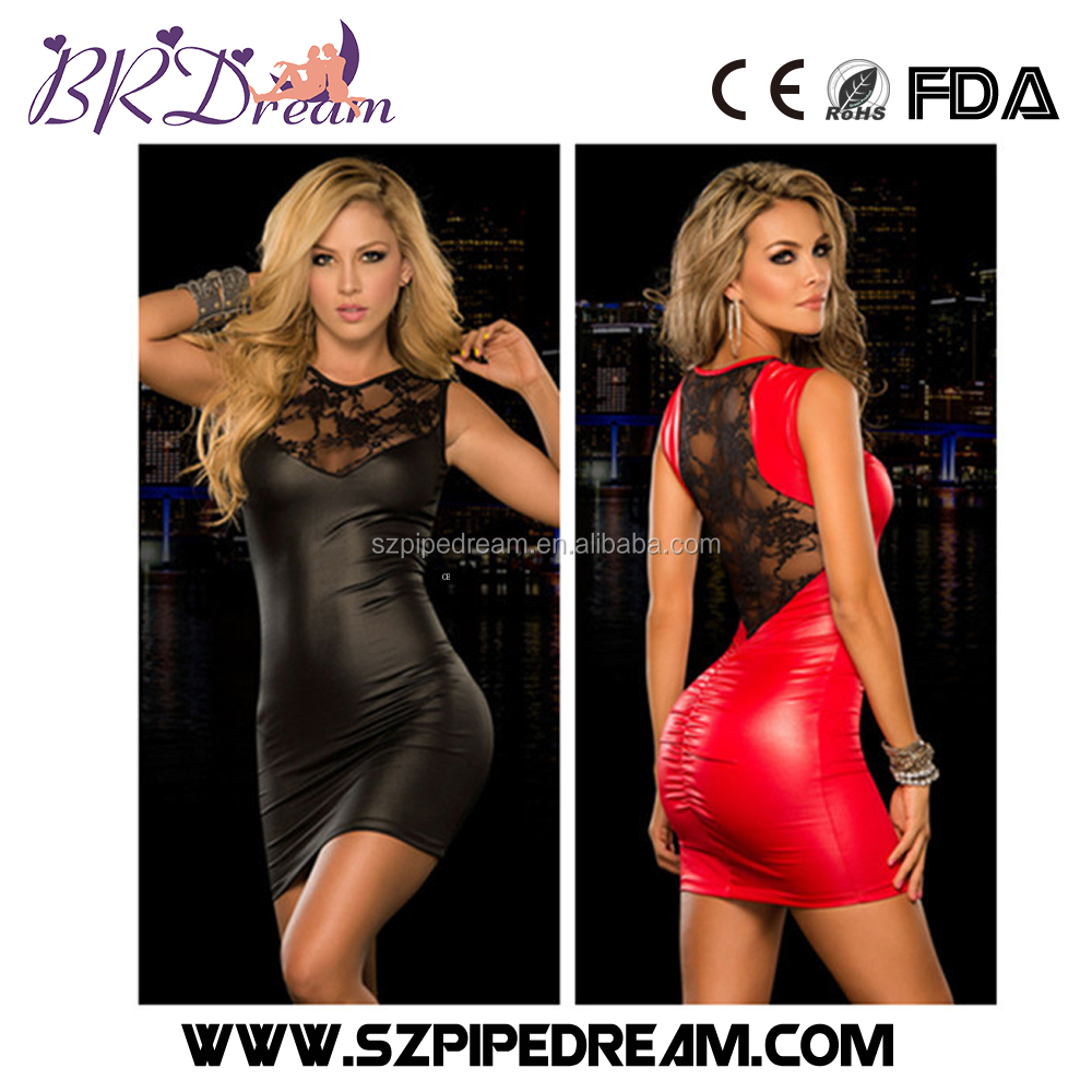 Faux Leather Lace Latex Catsuit Sex Lingerie Fetish Wear for Women Erotic lingerie Sexy lace backless dress
