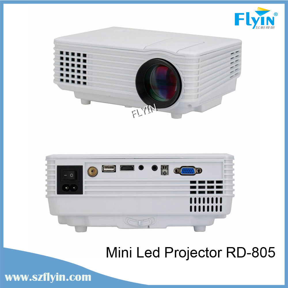 Led mini pocket projector rd 805 support av vga sd usb for Micro mini projector