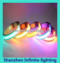 fluorescent led light led dog collar/led flashing dog leash lighted led dog collar with collar