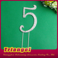 High Quality Wedding Favor Numbers Rhinestone Cake Topper