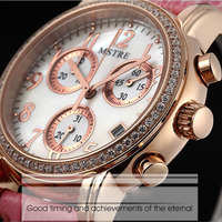 Swiss quartz movement watch diamond strong leather watch quartz female table with special feature