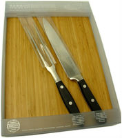 carving set with bamboo board