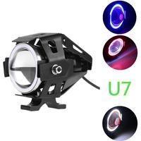 Headlight U7 LED Fog Lamp Front Spot Light DRL Spotlight Driving Daytime Lights Blue Circle 2PCS Car Motorcycle LED