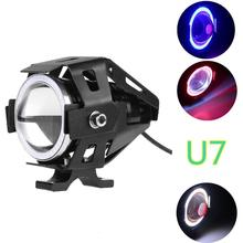 Headlight U7 LED Fog Lamp Front Spot Light DRL Spotlight Driving Daytime Lights Blue Circle Car Motorcycle LED