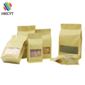 Laminated plain brown flat bottom kraft paper ziplock bags with window