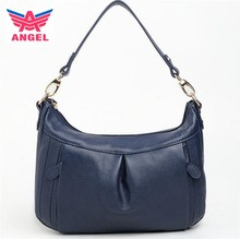 2017 Fashion navy blue genuine leather hobo hand bag for lady