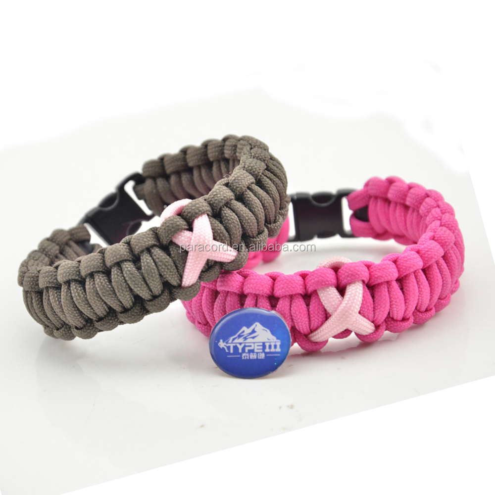 outdoor survival 7 strands 550 paracord bracelet with ribbon in the middle