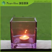 Newest Style decorative candle holders,square glass candle holder for upscale hotel