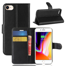 Lichee Wallet Flip PU Leather Phone Case Cover With Card Slots For Apple iPhone 8, For iPhone 8 leather case with stand