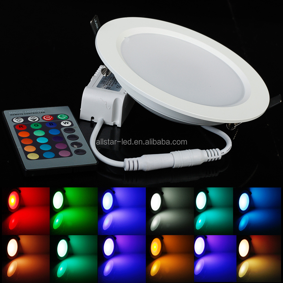 Hight Quality 5W/10W RGB LED Panel Light AC85-265V 24Color Downlight Bulb Lamp With Remote Control led panel down light