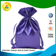 wholesale color custom 100%polyester silk-screened gift drawstring satin pouch