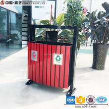 Outdoor wood and metal factory sales double iron waste bin