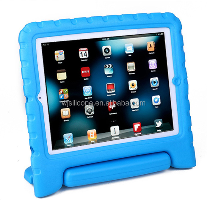 Factory Direct Waterproof Soft Silicone Rubber Smart Kids Cases for iPad 234 with Stands