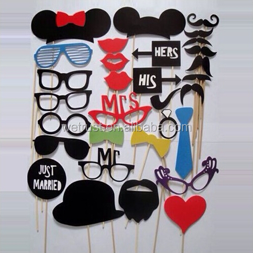 Wedding Favor Party Photo Booth Prop 31pcs Mustache on a Stick Props