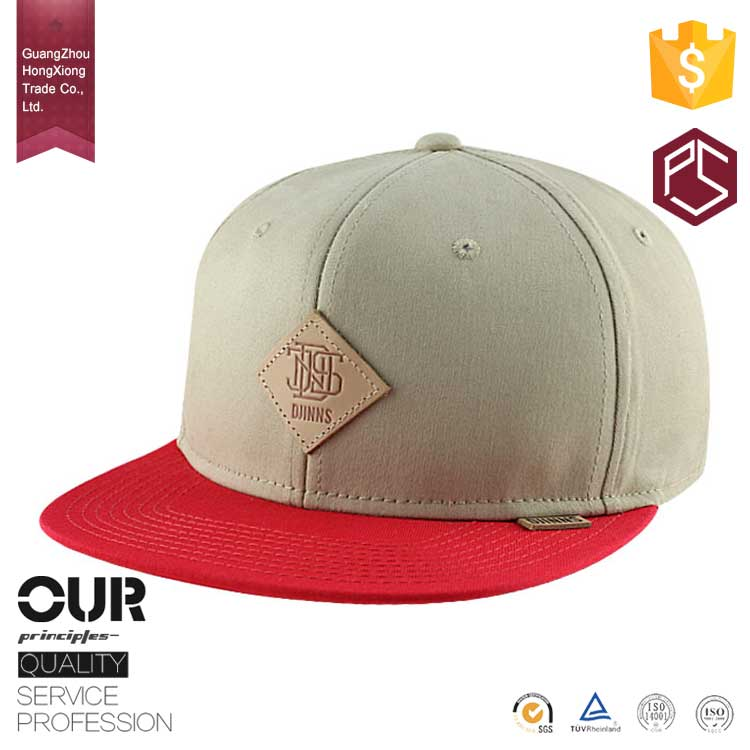 China professional manufacturer high quality red brim 6 panel structured custom leather patch logo snapback hats wholesale