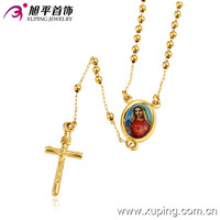 42423-xuping fashion jewelry manufacturer 14k gold religion picture cross rosary necklace