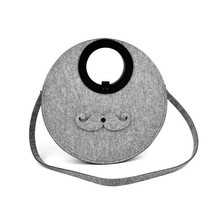 Cute mustache design felt shoulder bag,felt leisure bag for teenage new for 2015
